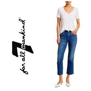 7 FOR ALL MANKIND Blue Raw Hem Cropped Flare Jeans